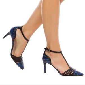 SHOEDAZZLE Melora Blue & Black Snakeskin Heels 5.5